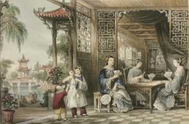 Ladies of a Mandarin Family Playing Cards